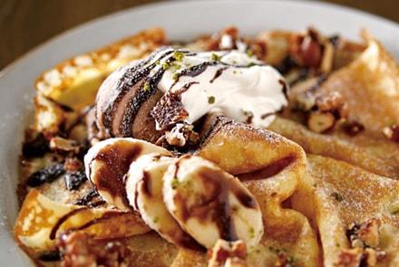 キャラメルバナナとチョコレートのクレープ